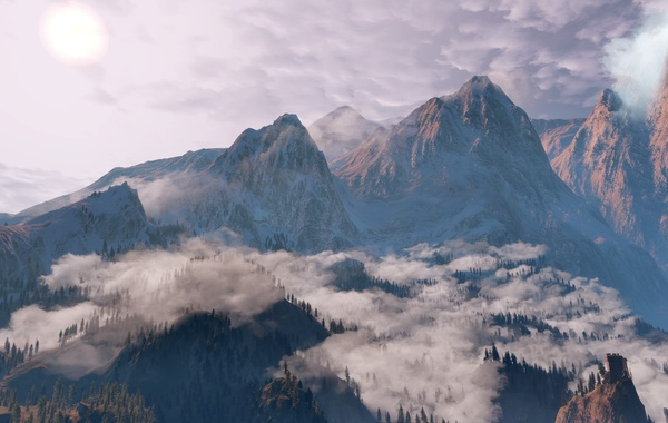 Clouds, Mountains, Snow, Forest, The Witcher, The Witcher, The Witcher 3 Wild Hunt, The Witcher …