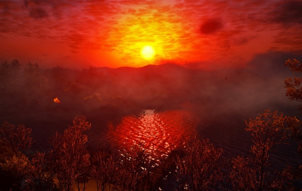 Sunset, Water, Red, Color, Tree, Grass, Lake, Trees, The Witcher, The Witcher, The Witcher 3 …